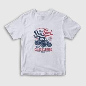 The Real Steel Klasik Araba Çocuk Tişört beyaz