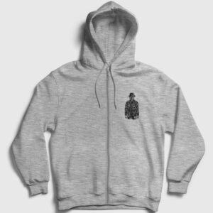 The Son Of Grenade Fermuarlı Kapşonlu Sweatshirt gri kırçıllı