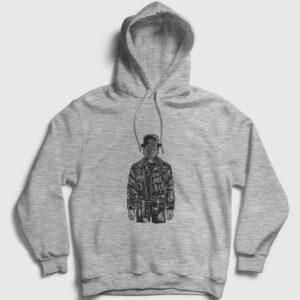 The Son Of Grenade Kapşonlu Sweatshirt gri kırçıllı
