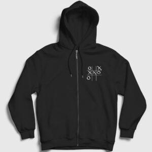 Tic Tac Toe Fermuarlı Kapşonlu Sweatshirt siyah