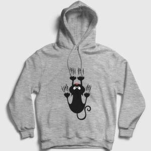 Tırmanan Kedi Kapşonlu Sweatshirt gri-kircilli