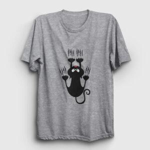 Tırmanan Kedi Tişört gri kırçıllı