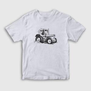 Traktör Çocuk Tişört beyaz