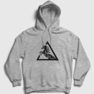Triangle Horse Kapşonlu Sweatshirt gri kırçıllı