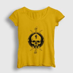 Tribal Skull and Bones Kadın Tişört sarı