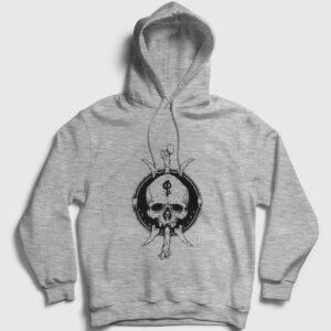 Tribal Skull and Bones Kapşonlu Sweatshirt gri kırçıllı