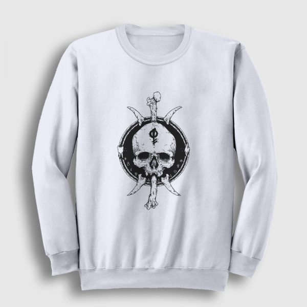 Tribal Skull and Bones Sweatshirt beyaz
