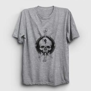 Tribal Skull and Bones Tişört gri kırçıllı