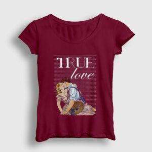 True Love Kadın Tişört bordo