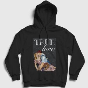 True Love Kapşonlu Sweatshirt siyah