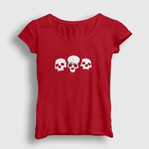 Üç Kurukafa Kadın Tişört kırmızı