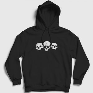 Üç Kurukafa Kapşonlu Sweatshirt siyah