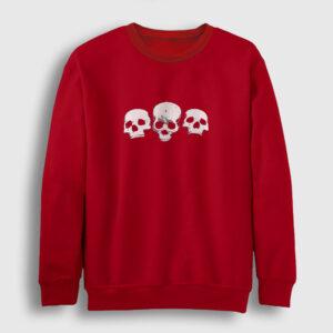 Üç Kurukafa Sweatshirt kırmızı