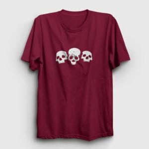 Üç Kurukafa Tişört bordo