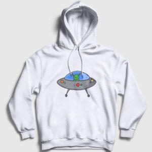 Ufo Kapşonlu Sweatshirt beyaz
