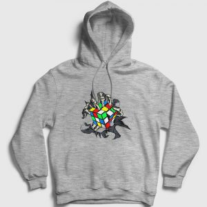 Undead Rubik Küp Kapşonlu Sweatshirt gri kırçıllı