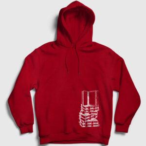 Üst Üste Kitaplar Kapşonlu Sweatshirt kırmızı