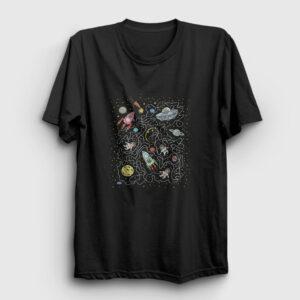 Uzaydaki Kediler Tişört siyah
