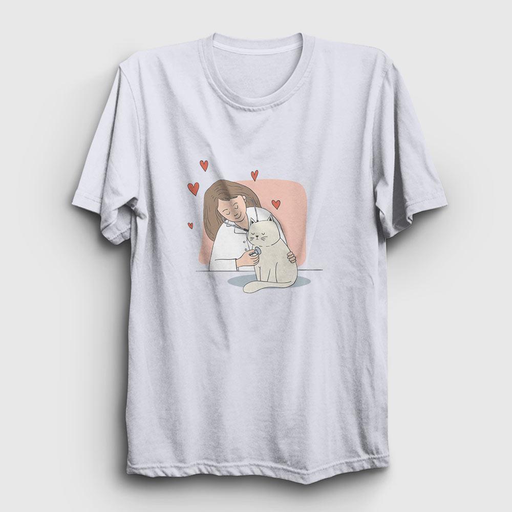 veteriner tişört beyaz