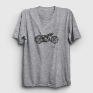 Vintage Motor Tişört gri kırçıllı
