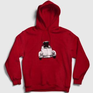 Vosvos Travel Kapşonlu Sweatshirt kırmızı