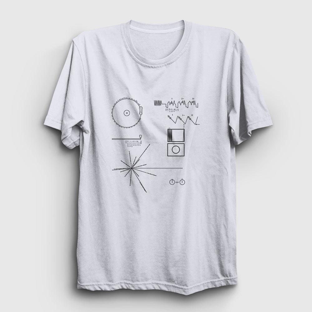 voyager tişört altın plak beyaz