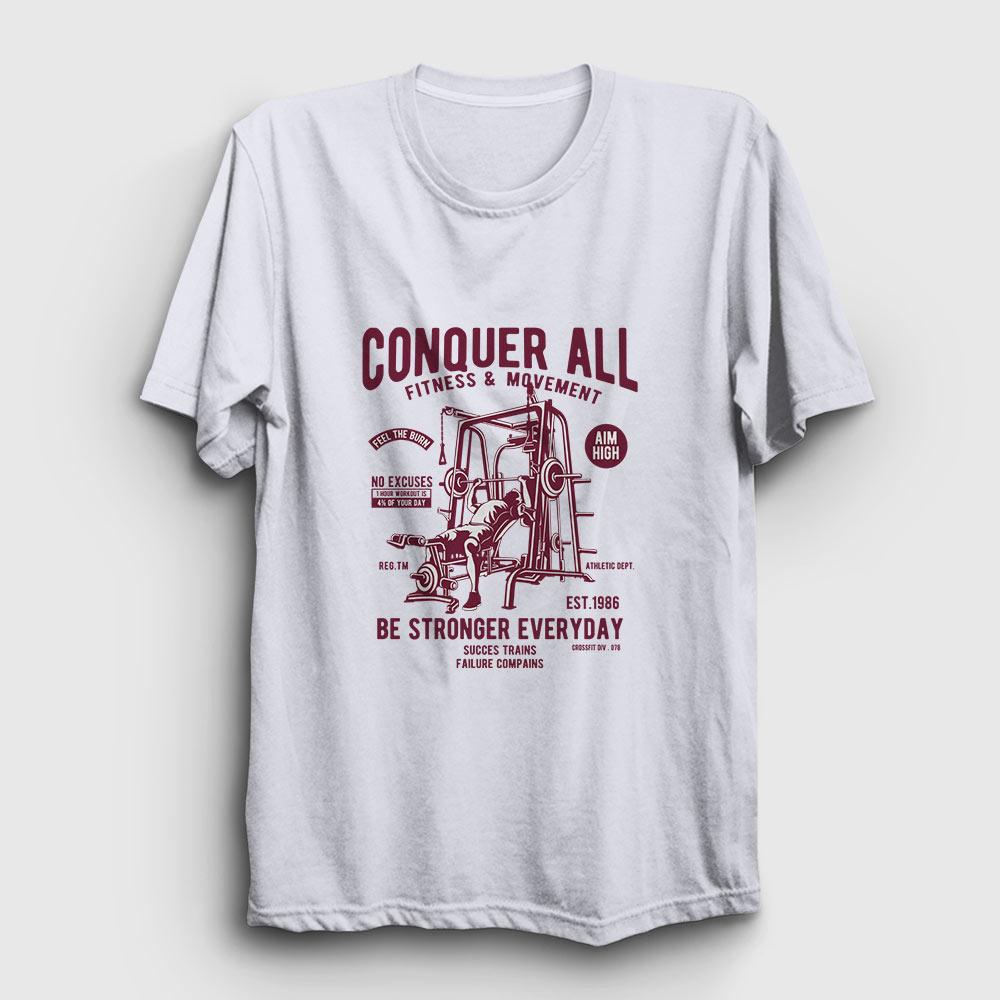 Vücut Geliştirme Tişört - Conquer All - Beyaz