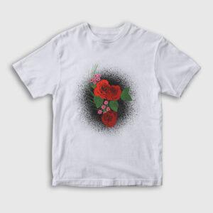 Watercolor Roses Çocuk Tişört beyaz