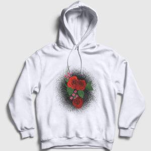 Watercolor Roses Kapşonlu Sweatshirt beyaz