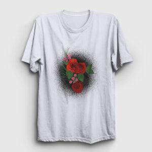 Watercolor Roses Tişört beyaz