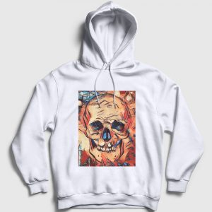 Watercolor Skull Kapşonlu Sweatshirt beyaz
