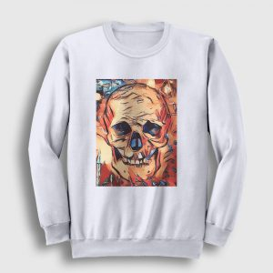 Watercolor Skull Sweatshirt beyaz