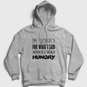 When I Was Hungry Kapşonlu Sweatshirt gri kırçıllı