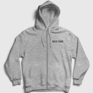 Wild Thing Fermuarlı Kapşonlu Sweatshirt gri kırçıllı