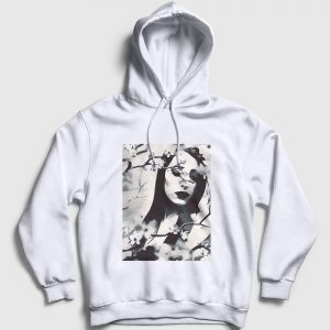 Woman In Flowers Kapşonlu Sweatshirt beyaz