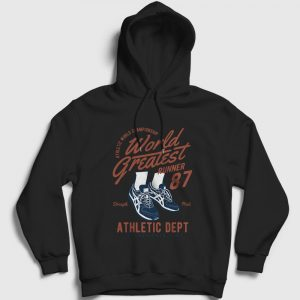 World Greatest Runner Kapşonlu Sweatshirt siyah