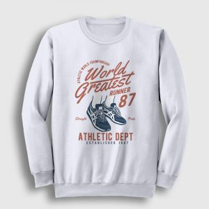 World Greatest Runner Sweatshirt beyaz