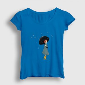 Yağmur ve Kız Kadın Tişört açık mavi