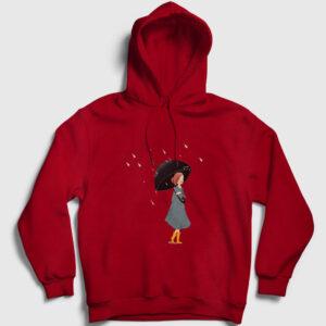 Yağmur ve Kız Kapşonlu Sweatshirt kırmızı