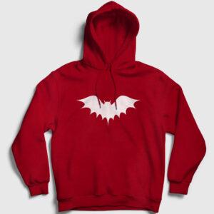 Yarasa Kapşonlu Sweatshirt kırmızı