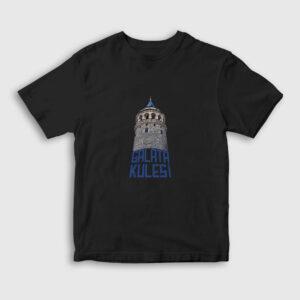 Yazılı Galata Kulesi Çocuk Tişört siyah