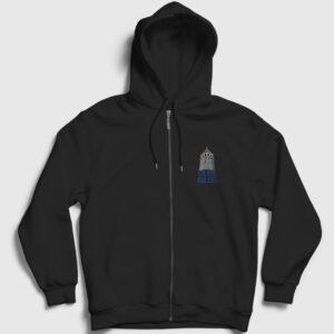 Yazılı Galata Kulesi Fermuarlı Kapşonlu Sweatshirt siyah