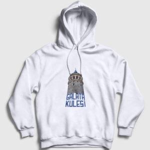 Yazılı Galata Kulesi Kapşonlu Sweatshirt beyaz