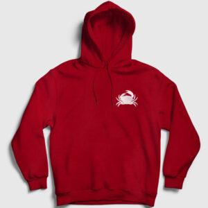 Yengeç Kapşonlu Sweatshirt kırmızı