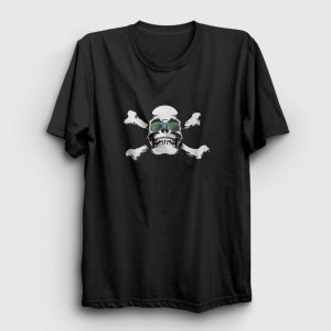 Yeşil Gözlüklü Kurukafa Tişört siyah