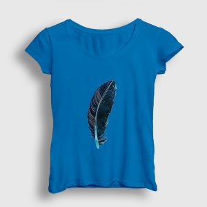 Yeşil Kuş Tüyü Kadın Tişört açık mavi