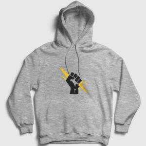 Yumruk Zeus Kapşonlu Sweatshirt gri kırçıllı