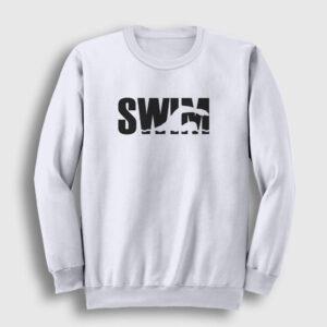 Yüzücü Sweatshirt – Swim beyaz